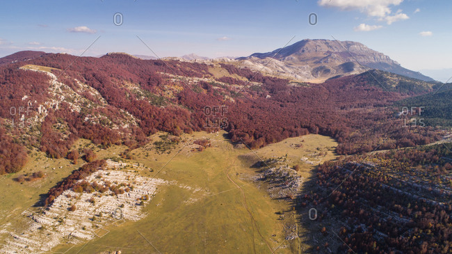 Aerial view of Dinara, highest Croatian mountain situated near the city of Knin.