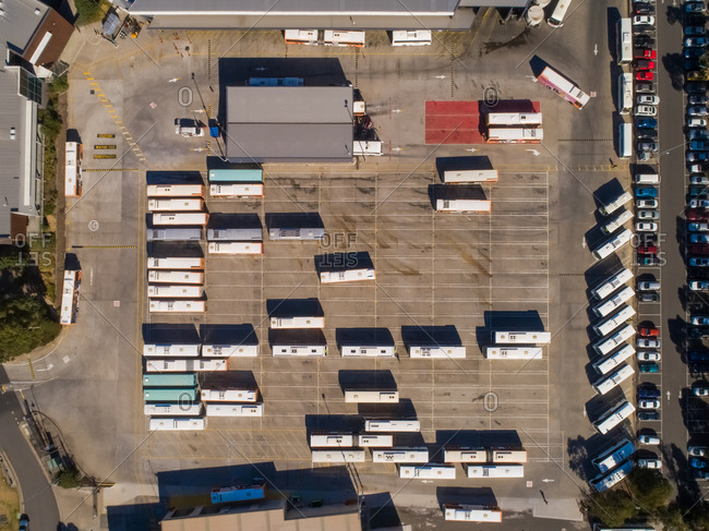Aerial view of a bus parking lot, Dandenong, Victoria, Australia