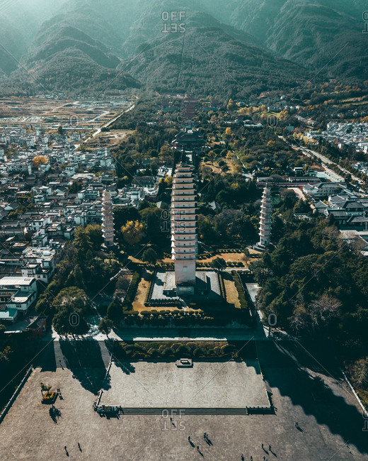 December 16, 2019: Aerial view of monuments in Dali, Dali City, Yunnan, China