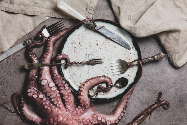 octopus holds forks and knife with tentacles on a table