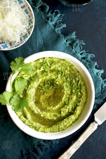 Cilantro Pesto swirled in a bowl