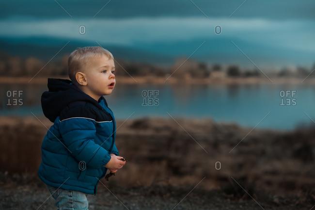 Curious toddler exploring nature near a lake