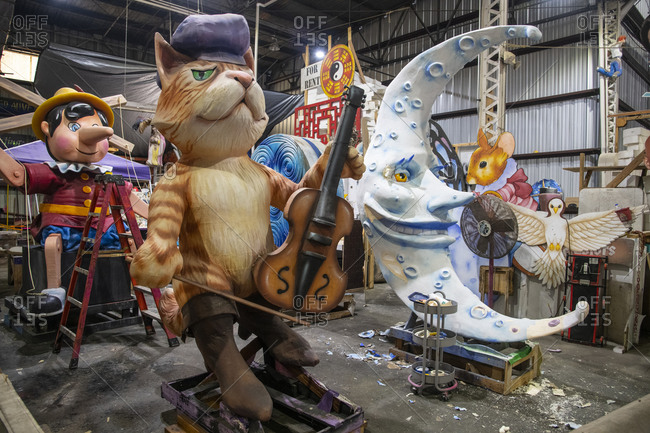 February 5, 2020: New Orleans. Figures that artists have made out of styrafoam to feature on Mardis Gras parade floats.