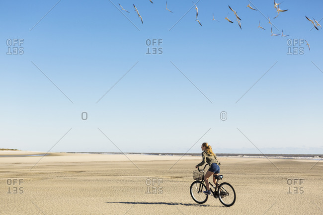 A teenage girl cycling on sand towards a flock of seagulls,