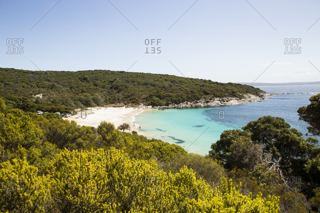 Beautiful coastal landscape with white sand and clear ocean