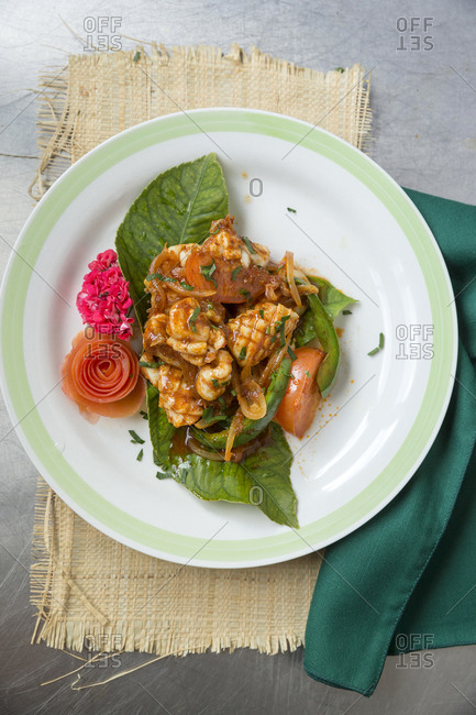 Plate of seafood, Indonesian style