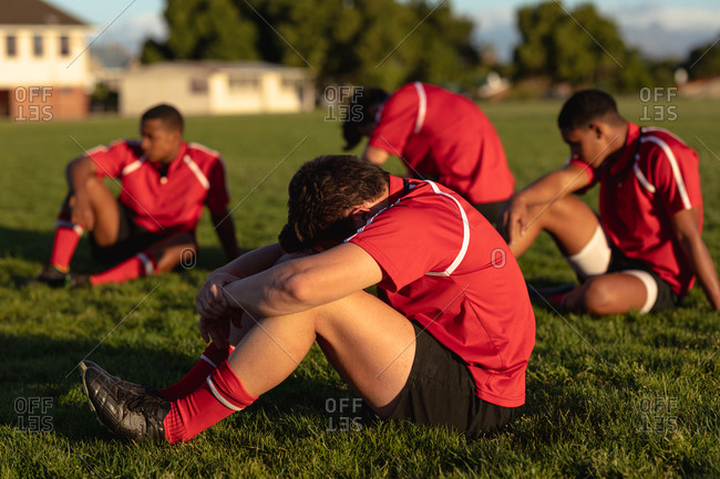 Rugby players tired after the match