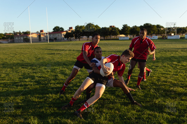 Rugby players in action during the match