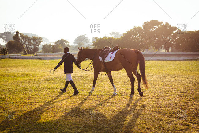 Man walking with his dressage horse on a paddock