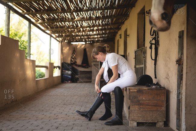 Caucasian woman putting on her dressage boots