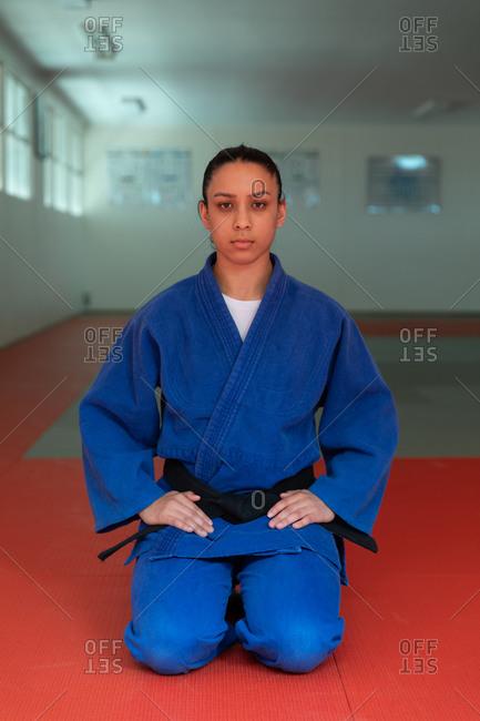 Judoka looking at the camera