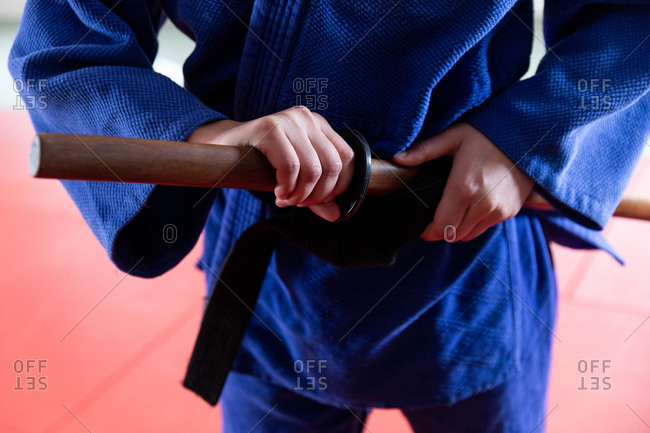 Close up view of judoka with a saber