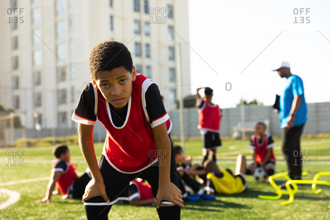 Soccer player tired after a match