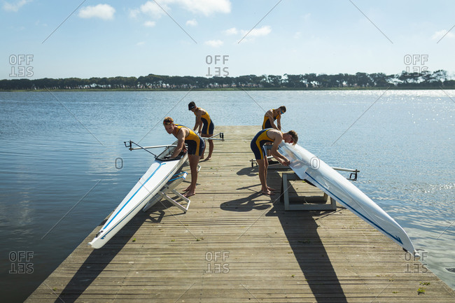 Teammates ready to go rowing