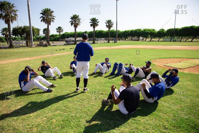 Baseball players training