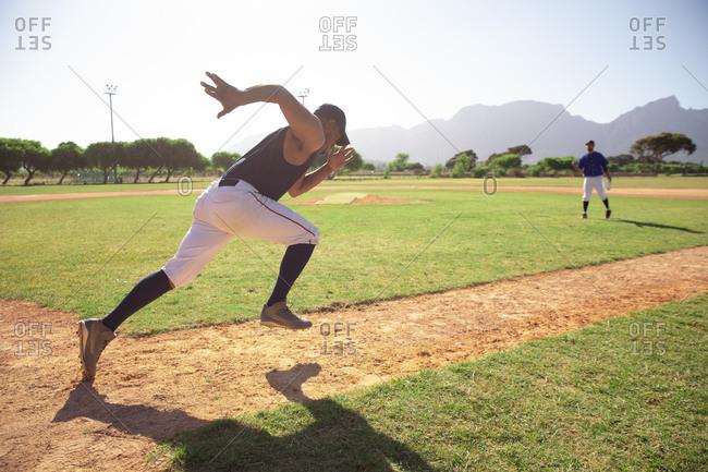 Baseball player running during a match