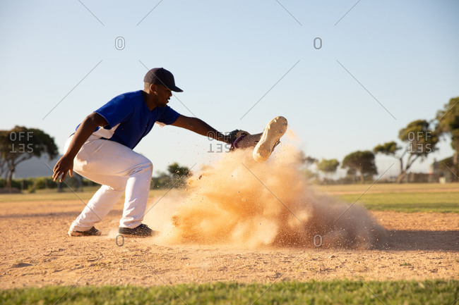 Baseball players during the match