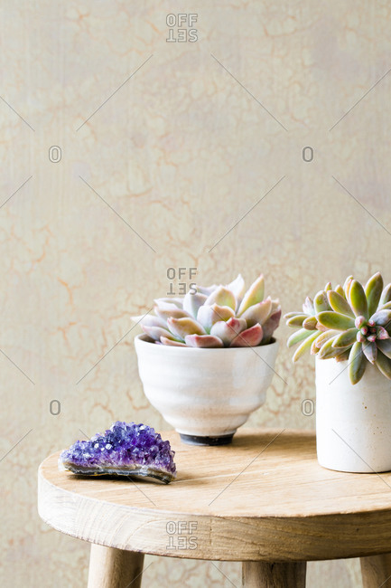 Amethyst crystal and potted plants on table