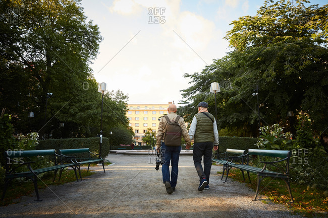 Rear view of senior gay couple holding hands walking at park in city