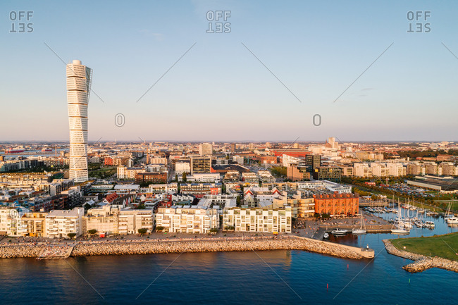 Scenic view of modern skyline in Malmo city against clear sky