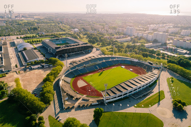 Sweden, Malmoe - February 20, 2020: Aerial view of stadium in Malmo city against sky on sunny day