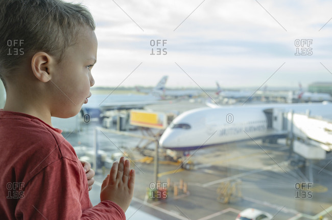 Boy look ahead At Airport
