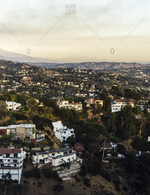 View of Los Angeles and Runyon canyon trail - vertical 1