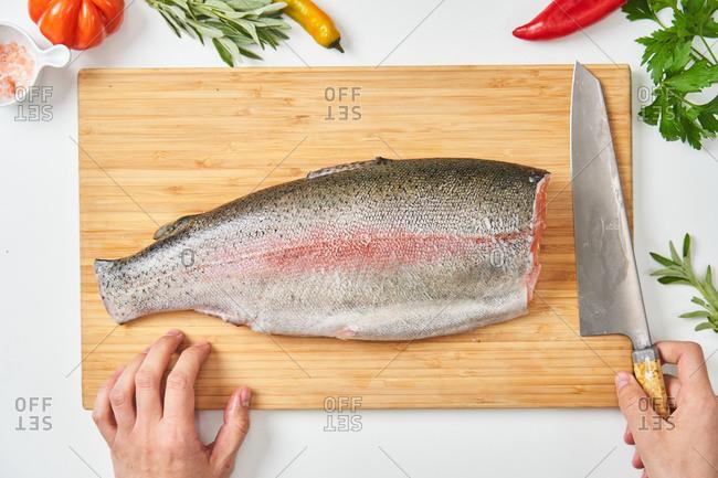 Process of butchering of fresh fish
