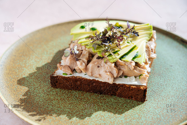 From above tasty tuna sandwich with slices of fresh avocado placed on plate in cafeteria