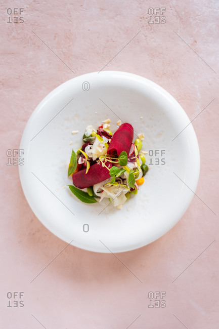 Closeup small portion of palatable vegetable salad placed on plate in restaurant