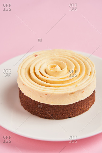 Yummy desserts with cream spiral