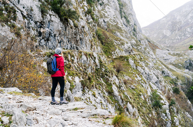 Side view of unrecognizable active woman hiker in red jacket with heavy backpack looking up at mountain in peaks of Europe, Asturias, Spain
