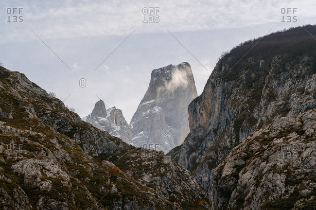 Dramatic landscape of mountains in peaks of Europe, Asturias, Spain