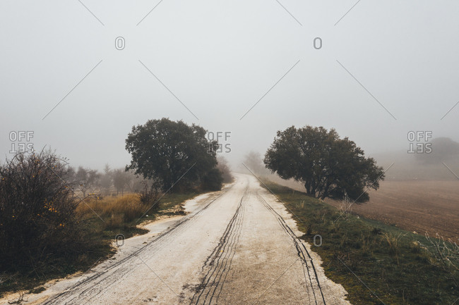 From above mysterious scenery of rural road leading through fields in hazy day in countryside
