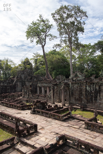 Scenic landscape of ruins of religious Hindu temple of Angkor Wat in tropics in Cambodia
