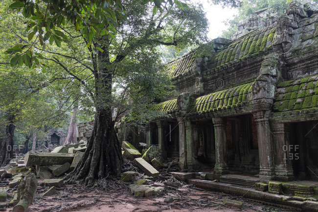 Scenic landscape of destroyed religious Hindu temple of Angkor Wat in Cambodia