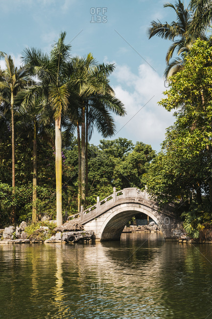Beautiful landscape of pond and stone bridge above with palms and exotic vegetation in sunlight, Qingxiu Mountain, China
