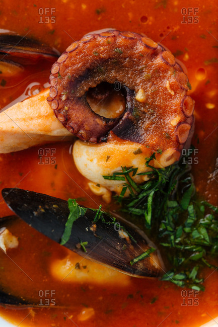 Top view of red soup of octopus and mussels served with greenery and roasted bread in restaurant