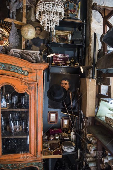 Paris, France - July 8, 2019: Interior of the shop L'objet Qui Parle, Montmartre, Paris