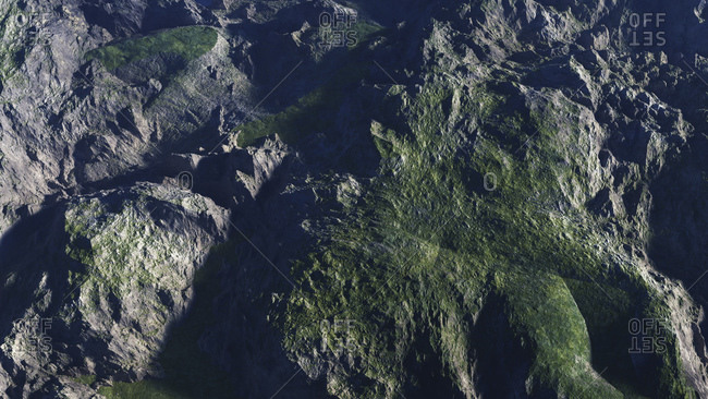 Computer generated illustration of mountainous terrain