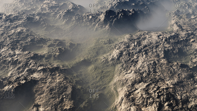 Computer generated illustration of a foggy mountainous terrain