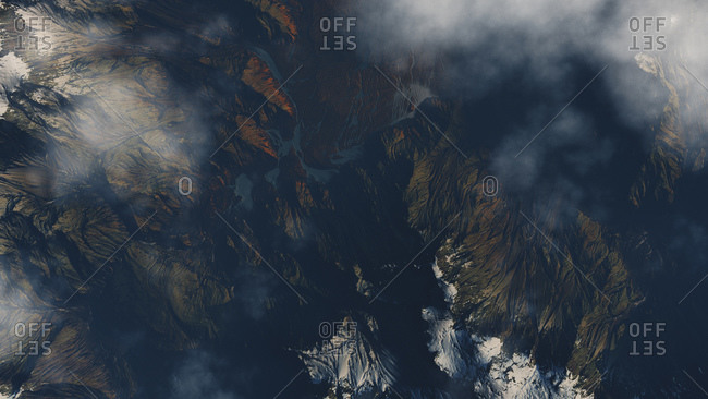 Computer generated illustration of a high altitude terrain