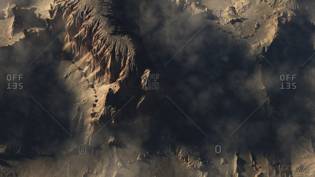 Computer generated illustration of rugged mountainous terrain