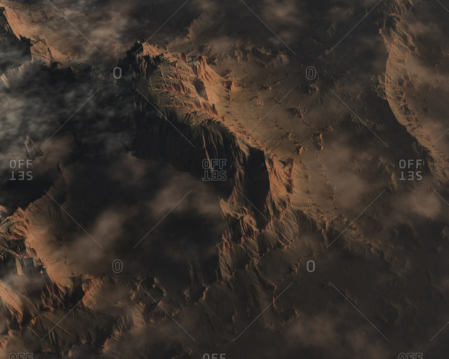 Digitally generated illustration of rugged mountainous terrain