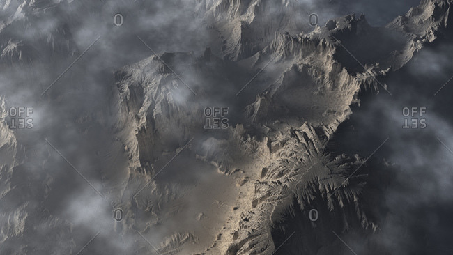 Computer generated illustration of clouds over a rugged mountainous terrain