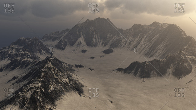 Clouds over snowy mountain landscape digitally generated