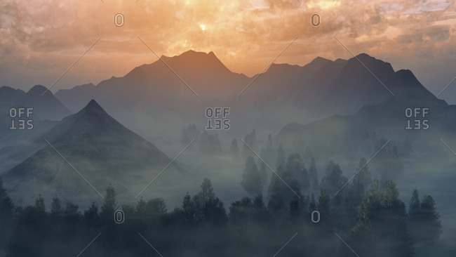 Beautiful sunset over mountain range digitally generated