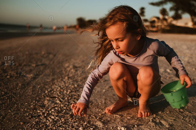 Girl picking sea shells at sunset on the beach in Florida