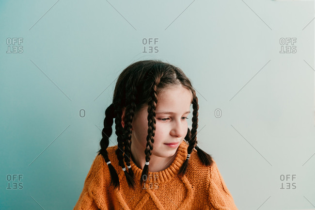 Portrait of a girl with braids in her hair