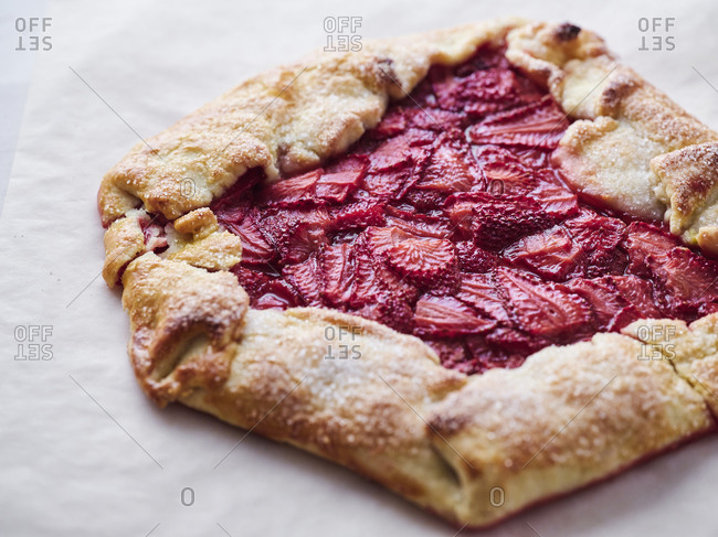 Close up of a fresh baked strawberry galette